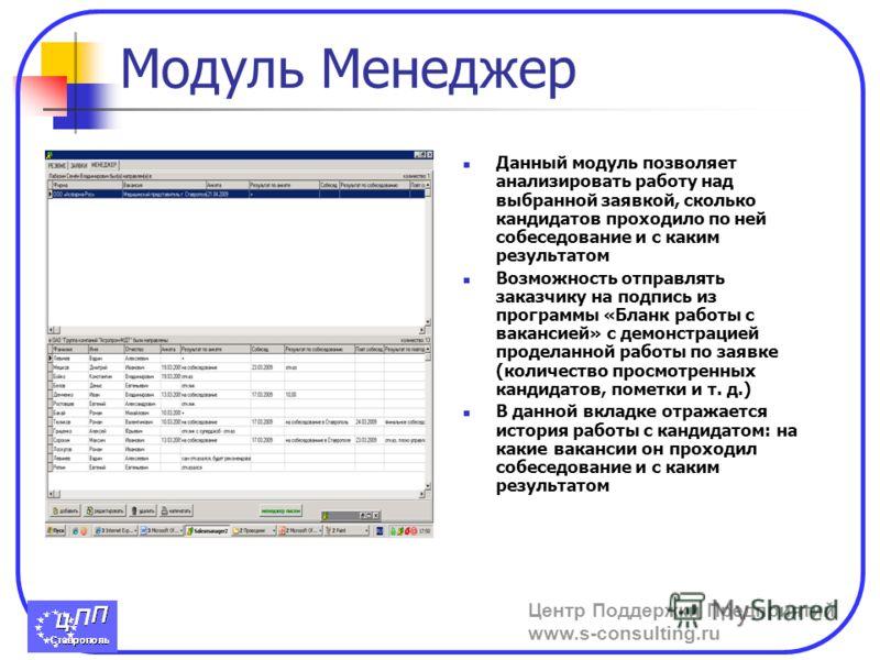 Центр Поддержки Предприятий www.s-consulting.ru Модуль Менеджер Данный модуль позволяет анализировать работу над выбранной заявкой, сколько кандидатов проходило по ней собеседование и с каким результатом Возможность отправлять заказчику на подпись из