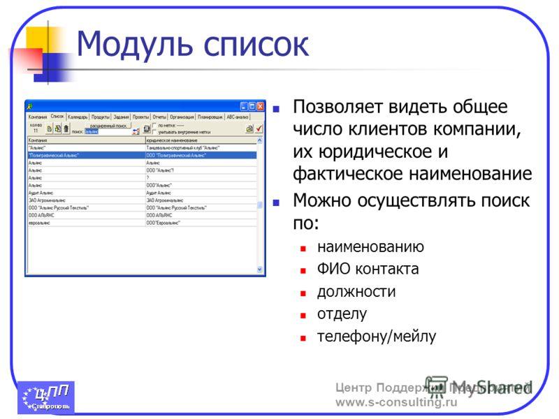 Центр Поддержки Предприятий www.s-consulting.ru Модуль список Позволяет видеть общее число клиентов компании, их юридическое и фактическое наименование Можно осуществлять поиск по: наименованию ФИО контакта должности отделу телефону/мейлу