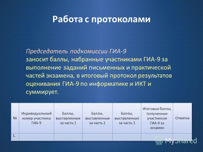 Работа с протоколами Председатель подкомиссии ГИА -9 заносит баллы, набранные участниками ГИА -9 за выполнение заданий письменных и практической частей экзамена, в итоговый протокол результатов оценивания ГИА -9 по информатике и ИКТ и суммирует.