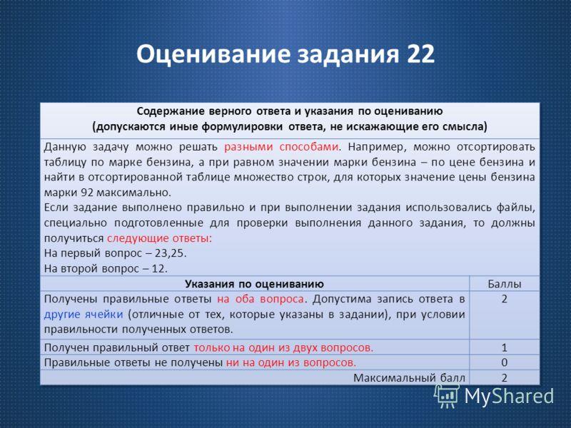 Оценивание задания 22