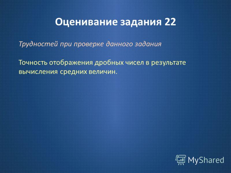 Оценивание задания 22 Трудностей при проверке данного задания Точность отображения дробных чисел в результате вычисления средних величин.