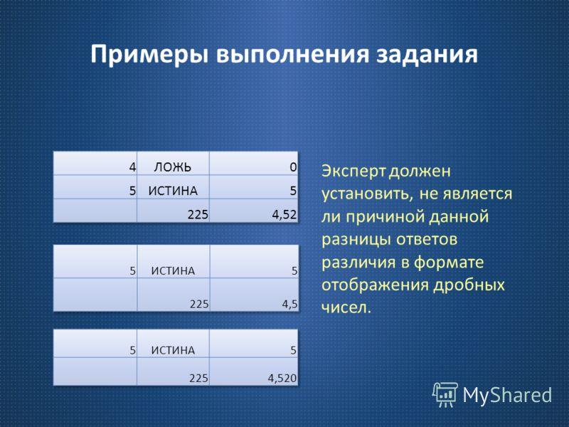 Примеры выполнения задания Эксперт должен установить, не является ли причиной данной разницы ответов различия в формате отображения дробных чисел.
