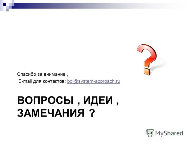 ВОПРОСЫ, ИДЕИ, ЗАМЕЧАНИЯ ? Спасибо за внимание, E-mail для контактов: bdl@system-approach.rubdl@system-approach.ru