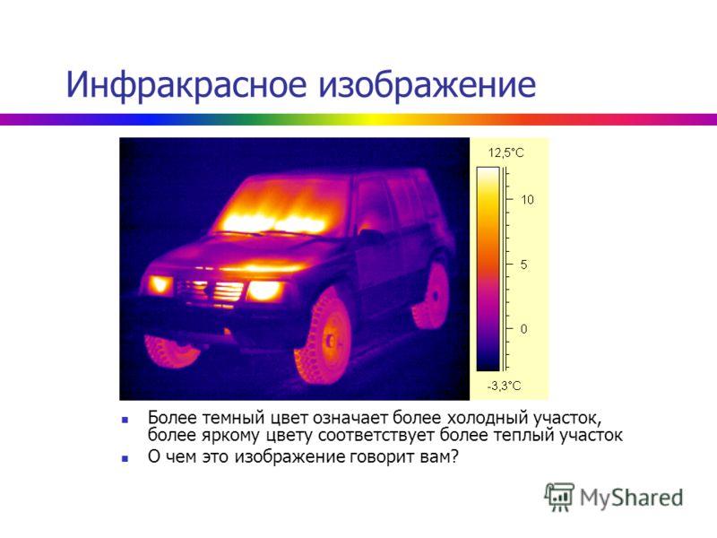Инфракрасное изображение Более темный цвет означает более холодный участок, более яркому цвету соответствует более теплый участок О чем это изображение говорит вам?