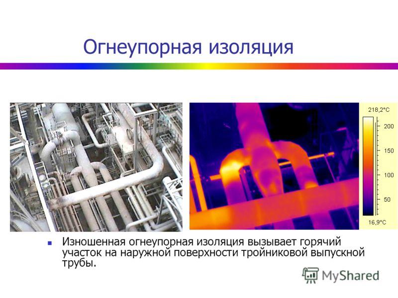 Огнеупорная изоляция Изношенная огнеупорная изоляция вызывает горячий участок на наружной поверхности тройниковой выпускной трубы.