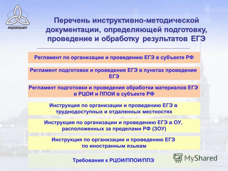 Перечень инструктивно-методической документации, определяющей подготовку, проведение и обработку результатов ЕГЭ