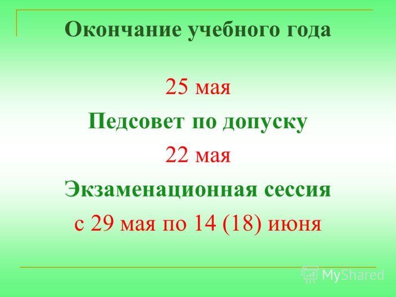 Окончание учебного года 25 мая Педсовет по допуску 22 мая Экзаменационная сессия с 29 мая по 14 (18) июня