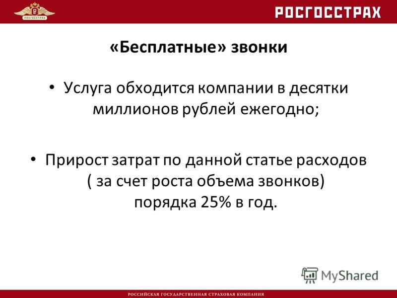 «Бесплатные» звонки Услуга обходится компании в десятки миллионов рублей ежегодно; Прирост затрат по данной статье расходов ( за счет роста объема звонков) порядка 25% в год.