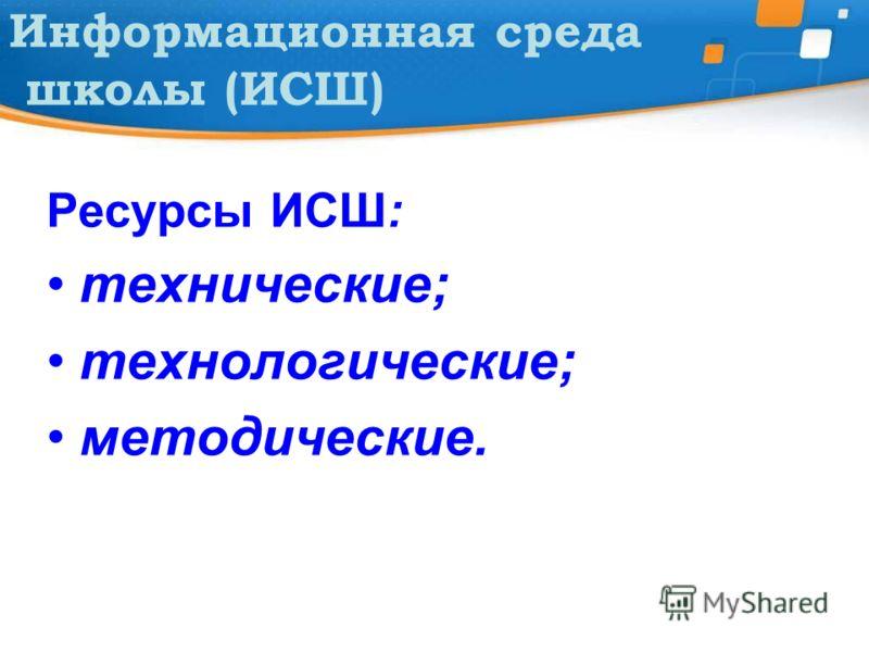 Информационная среда школы (ИСШ) Ресурсы ИСШ: технические; технологические; методические.