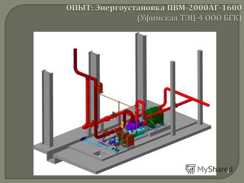 2 ОПЫТ : Энергоустановка ПВМ -2000 АГ -1600 ( Уфимская ТЭЦ -4 ООО БГК )