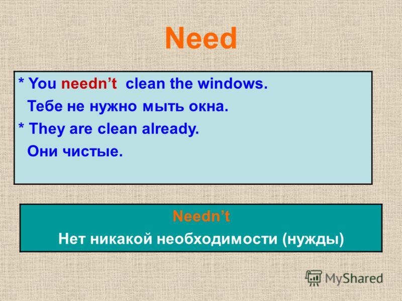 Need * You neednt clean the windows. Тебе не нужно мыть окна. * They are clean already. Они чистые. Neednt Нет никакой необходимости (нужды)