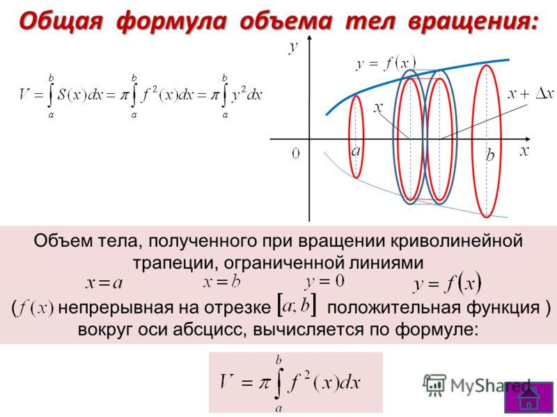 Общая формула объема тел вращения: Объем тела, полученного при вращении криволинейной трапеции, ограниченной линиями ( непрерывная на отрезке положительная функция ) вокруг оси абсцисс, вычисляется по формуле: