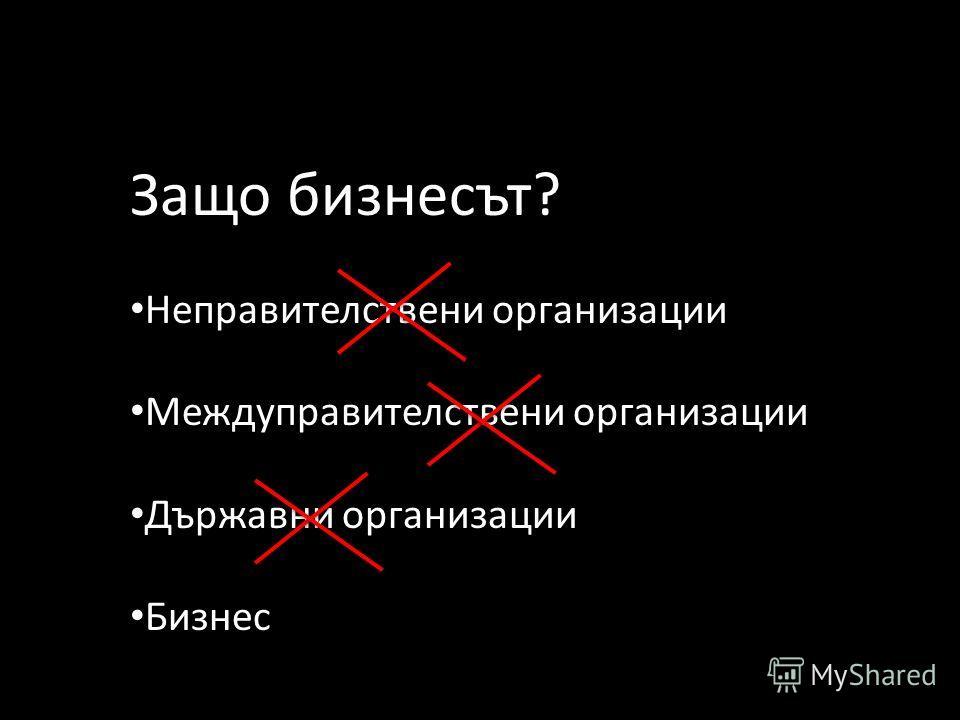 Защо бизнесът? Неправителствени организации Междуправителствени организации Държавни организации Бизнес