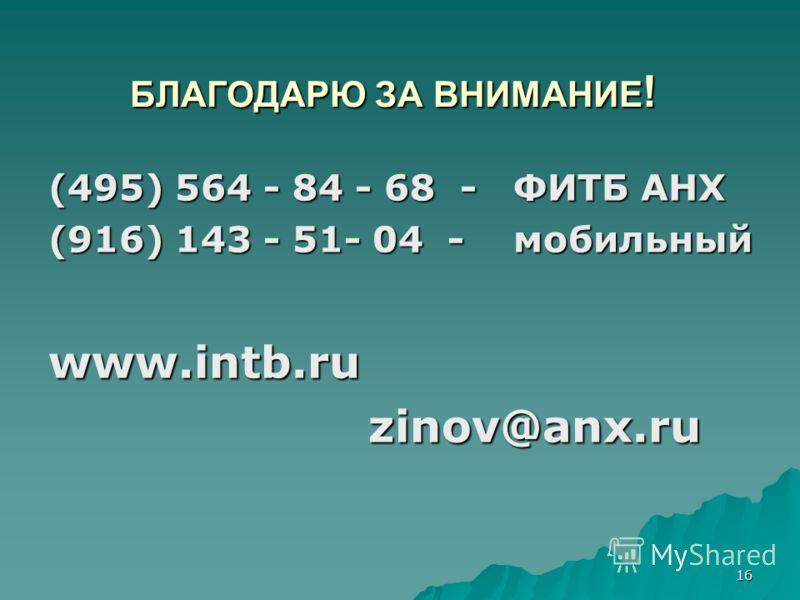 16 БЛАГОДАРЮ ЗА ВНИМАНИЕ ! (495) 564 - 84 - 68 - ФИТБ АНХ (916) 143 - 51- 04 - мобильный www.intb.ruzinov@anx.ru