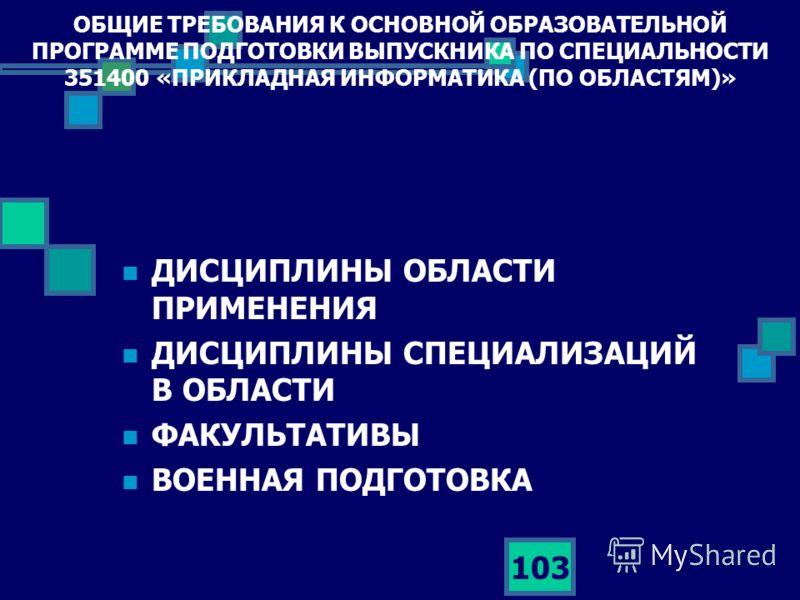 103 ОБЩИЕ ТРЕБОВАНИЯ К ОСНОВНОЙ ОБРАЗОВАТЕЛЬНОЙ ПРОГРАММЕ ПОДГОТОВКИ ВЫПУСКНИКА ПО СПЕЦИАЛЬНОСТИ 351400 «ПРИКЛАДНАЯ ИНФОРМАТИКА (ПО ОБЛАСТЯМ)» ДИСЦИПЛИНЫ ОБЛАСТИ ПРИМЕНЕНИЯ ДИСЦИПЛИНЫ СПЕЦИАЛИЗАЦИЙ В ОБЛАСТИ ФАКУЛЬТАТИВЫ ВОЕННАЯ ПОДГОТОВКА
