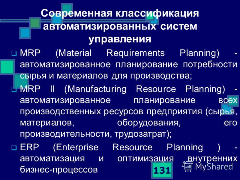 131 MRP (Material Requirements Planning) - автоматизированное планирование потребности сырья и материалов для производства; MRP II (Manufacturing Resource Planning) - автоматизированное планирование всех производственных ресурсов предприятия (сырья,