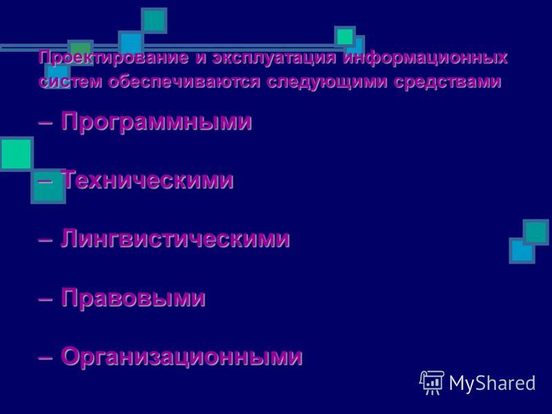 Проектирование и эксплуатация информационных систем обеспечиваются следующими средствами –Программными –Техническими –Лингвистическими –Правовыми –Организационными