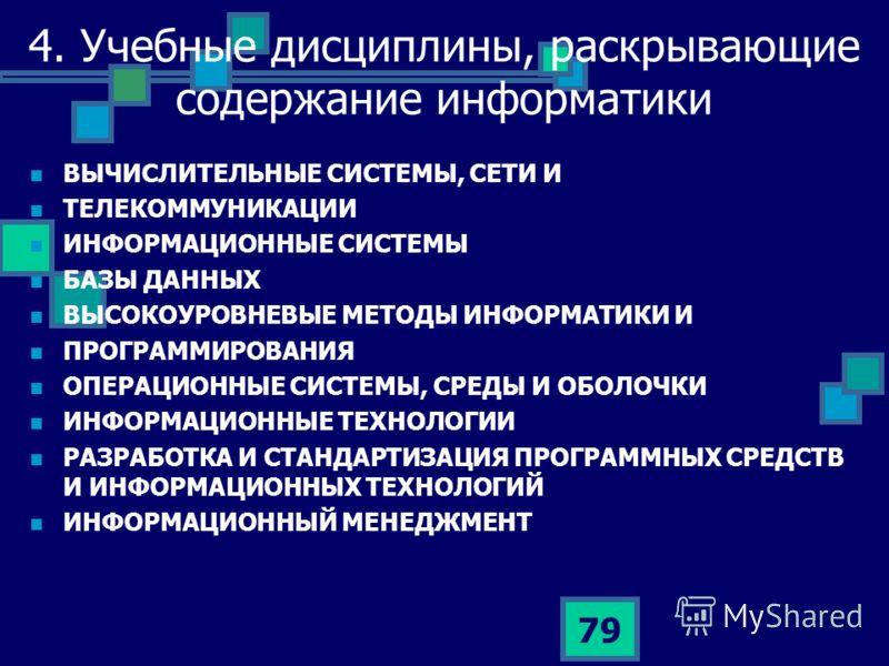 79 4. Учебные дисциплины, раскрывающие содержание информатики ВЫЧИСЛИТЕЛЬНЫЕ СИСТЕМЫ, СЕТИ И ТЕЛЕКОММУНИКАЦИИ ИНФОРМАЦИОННЫЕ СИСТЕМЫ БАЗЫ ДАННЫХ ВЫСОКОУРОВНЕВЫЕ МЕТОДЫ ИНФОРМАТИКИ И ПРОГРАММИРОВАНИЯ ОПЕРАЦИОННЫЕ СИСТЕМЫ, СРЕДЫ И ОБОЛОЧКИ ИНФОРМАЦИОНН