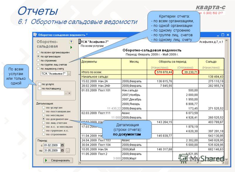 слайд 101 тел. 0 (800) 502 217 Отчеты 6.1 Оборотные сальдовые ведомости Критерии отчета: - по всем организациям, - по одной организации - по одному строению - по группе лиц. счетов - по одному лиц. счету По всем услугам или только одной Детализация (