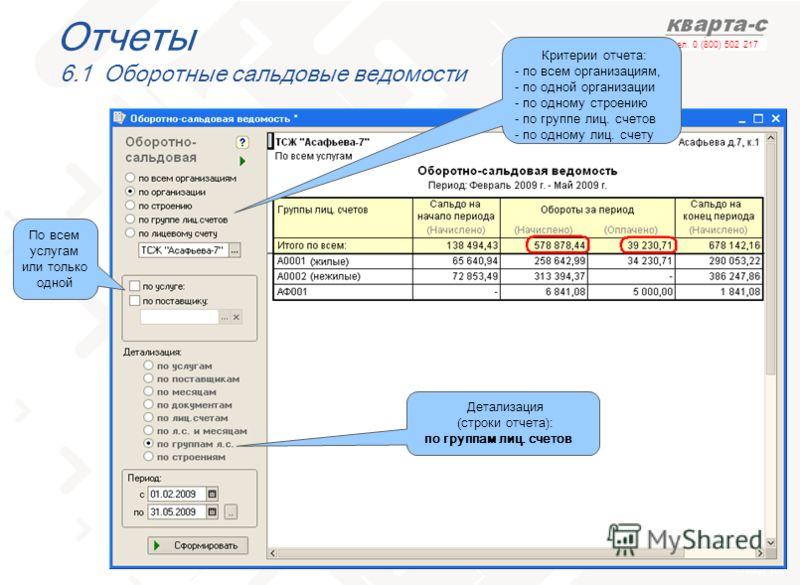 слайд 103 тел. 0 (800) 502 217 Отчеты 6.1 Оборотные сальдовые ведомости Критерии отчета: - по всем организациям, - по одной организации - по одному строению - по группе лиц. счетов - по одному лиц. счету По всем услугам или только одной Детализация (