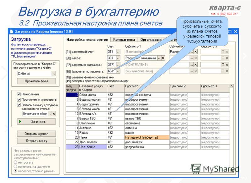 слайд 113 тел. 0 (800) 502 217 Выгрузка в бухгалтерию 8.2 Произвольная настройка плана счетов Произвольные счета, субсчета и субконто из плана счетов в 1С:Бухгалтерии Произвольные счета, субсчета и субконто из плана счетов украинской типовой 1С:Бухга