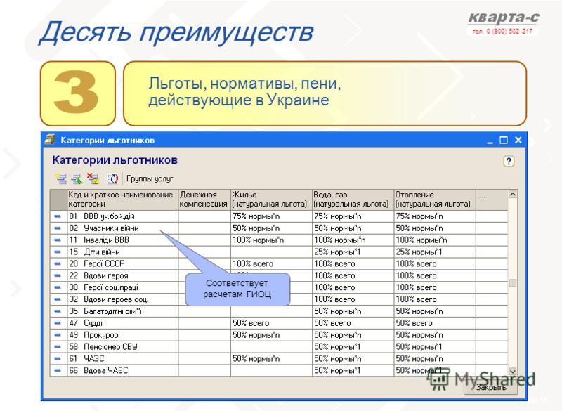 слайд 16 тел. 0 (800) 502 217 Десять преимуществ Льготы, нормативы, пени, действующие в Украине Соответствует расчетам ГИОЦ