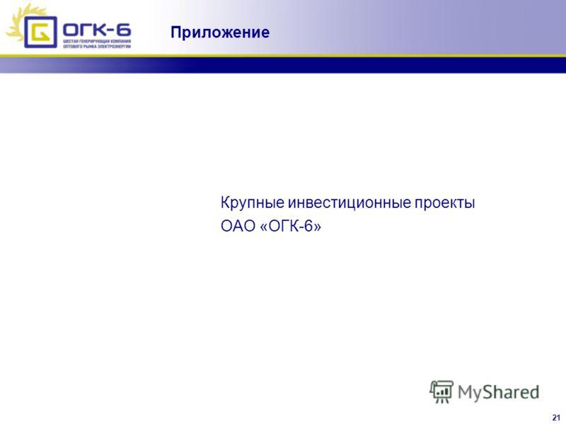 21 Крупные инвестиционные проекты ОАО «ОГК-6» Приложение