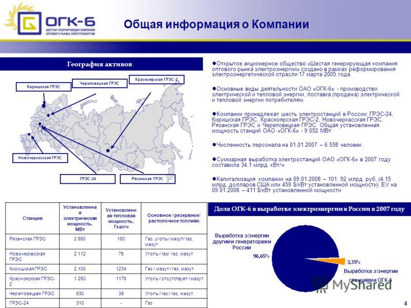 4 Общая информация о Компании Новочеркасская ГРЭС География активов Открытое акционерное общество «Шестая генерирующая компания оптового рынка электроэнергии» создано в рамках реформирования электроэнергетической отрасли 17 марта 2005 года. Основные