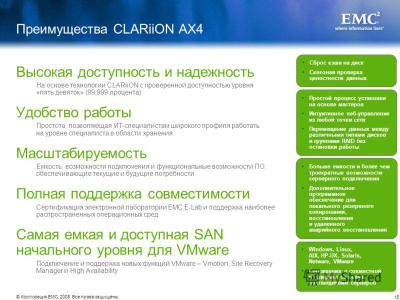 15 © Корпорация EMC, 2008. Все права защищены. Преимущества CLARiiON AX4 Высокая доступность и надежность На основе технологии CLARiiON с проверенной доступностью уровня «пять девяток» (99,999 процента) Удобство работы Простота, позволяющая ИТ-специа