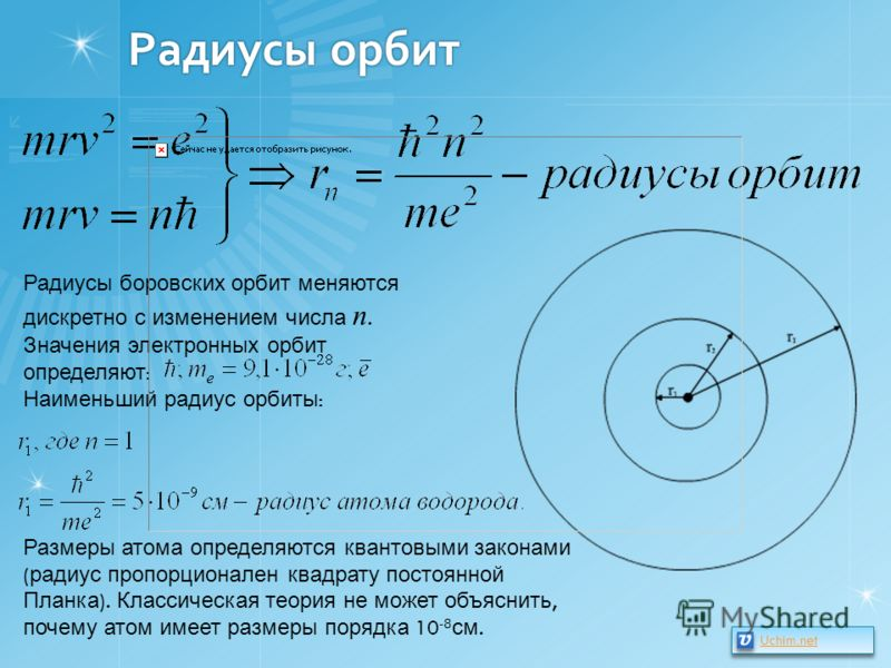 Радиусы орбит Радиусы боровских орбит меняются дискретно с изменением числа n. Значения электронных орбит определяют : Наименьший радиус орбиты : Размеры атома определяются квантовыми законами ( радиус пропорционален квадрату постоянной Планка ). Кла