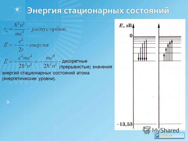 Энергия стационарных состояний - дискретные ( прерывистые ) значения энергий стационарных состояний атома ( энергетические уровни ). Uchim.net