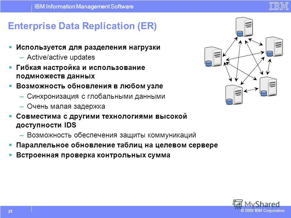 IBM Information Management Software © 2009 IBM Corporation 21 Enterprise Data Replication (ER) Используется для разделения нагрузки –Active/active updates Гибкая настройка и использование подмножеств данных Возможность обновления в любом узле –Синхро