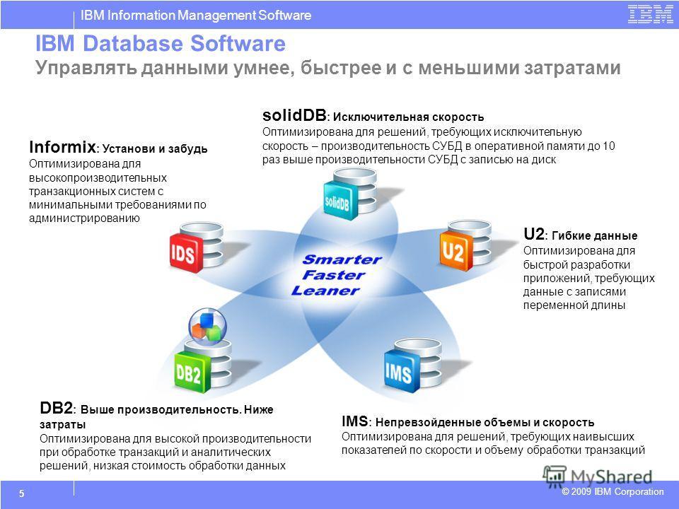 IBM Information Management Software © 2009 IBM Corporation 5 IBM Database Software Управлять данными умнее, быстрее и с меньшими затратами solidDB : Исключительная скорость Оптимизирована для решений, требующих исключительную скорость – производитель