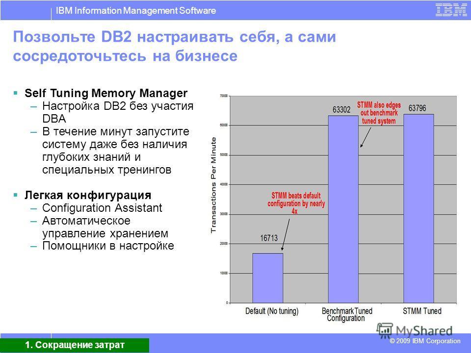 IBM Information Management Software © 2009 IBM Corporation 7 Позвольте DB2 настраивать себя, а сами сосредоточьтесь на бизнесе Self Tuning Memory Manager –Настройка DB2 без участия DBA –В течение минут запустите систему даже без наличия глубоких знан