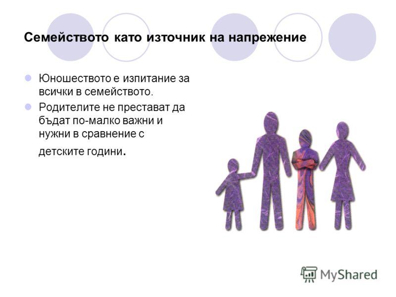 Семейството като източник на напрежение Юношеството е изпитание за всички в семейството. Родителите не престават да бъдат по-малко важни и нужни в сравнение с детските години.
