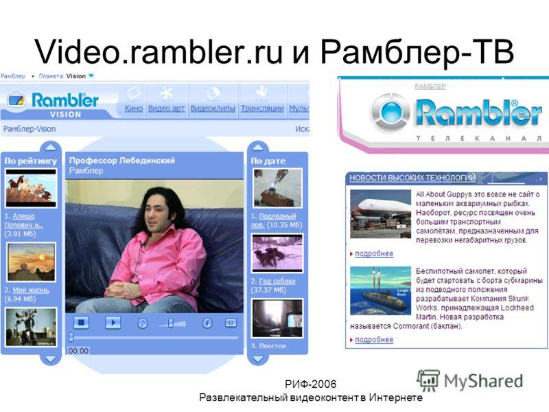 РИФ-2006 Развлекательный видеоконтент в Интернете Video.rambler.ru и Рамблер-ТВ