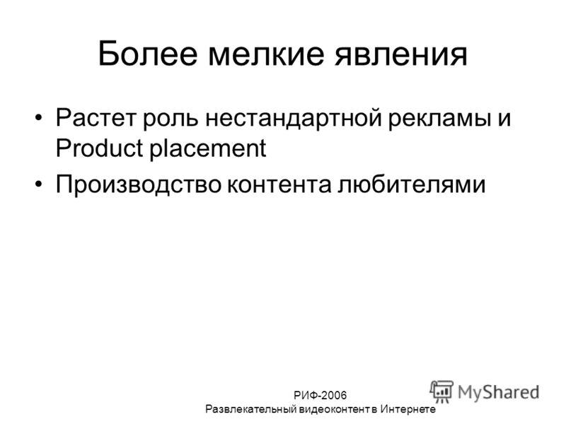 РИФ-2006 Развлекательный видеоконтент в Интернете Более мелкие явления Растет роль нестандартной рекламы и Product placement Производство контента любителями