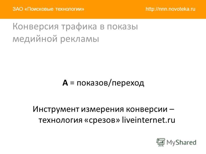 http://nnn.novoteka.ruЗАО «Поисковые технологии» Конверсия трафика в показы медийной рекламы A = показов/переход Инструмент измерения конверсии – технология «срезов» liveinternet.ru