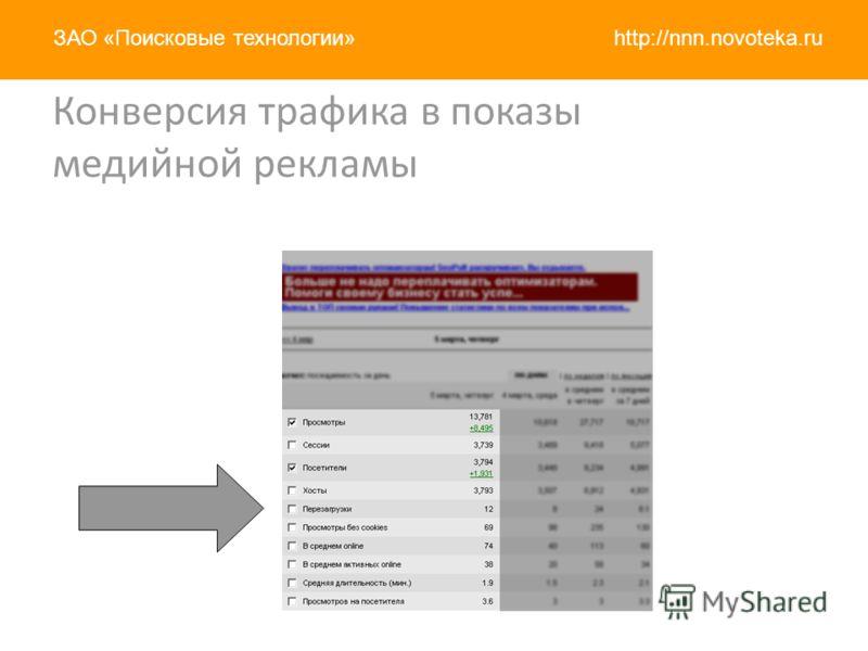 http://nnn.novoteka.ruЗАО «Поисковые технологии» Конверсия трафика в показы медийной рекламы