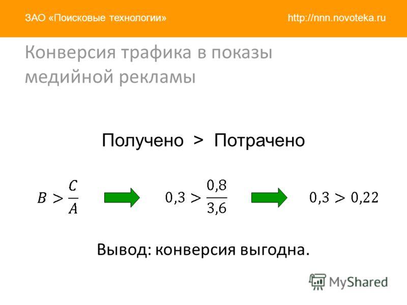 http://nnn.novoteka.ruЗАО «Поисковые технологии» Конверсия трафика в показы медийной рекламы Вывод: конверсия выгодна. Получено > Потрачено