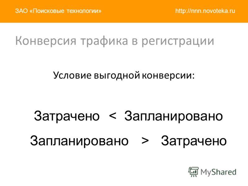 http://nnn.novoteka.ruЗАО «Поисковые технологии» Условие выгодной конверсии: Затрачено < Запланировано Запланировано > Затрачено Конверсия трафика в регистрации