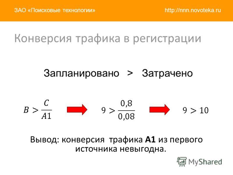 http://nnn.novoteka.ruЗАО «Поисковые технологии» Вывод: конверсия трафика A1 из первого источника невыгодна. Запланировано > Затрачено Конверсия трафика в регистрации