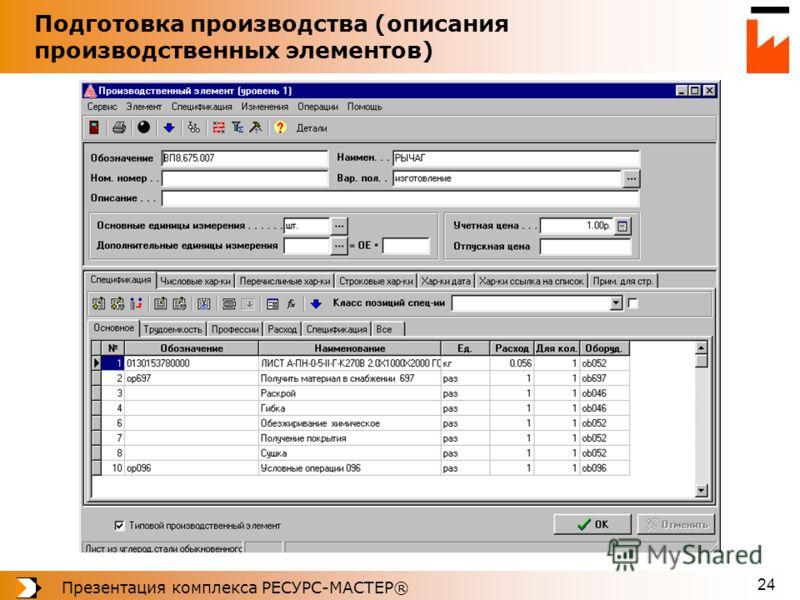 Презентация комплекса РЕСУРС-МАСТЕР® 24 Подготовка производства (описания производственных элементов)