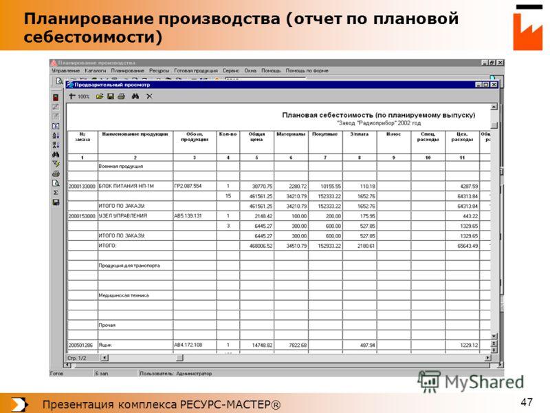 Презентация комплекса РЕСУРС-МАСТЕР® 47 Планирование производства (отчет по плановой себестоимости)