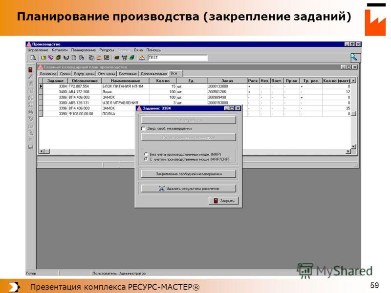 Презентация комплекса РЕСУРС-МАСТЕР® 59 Планирование производства (закрепление заданий)
