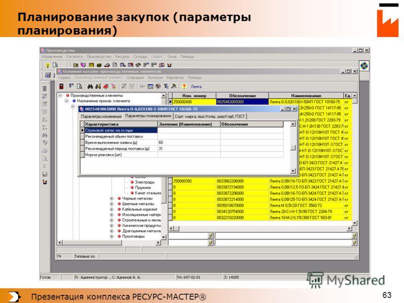 Презентация комплекса РЕСУРС-МАСТЕР® 63 Планирование закупок (параметры планирования)