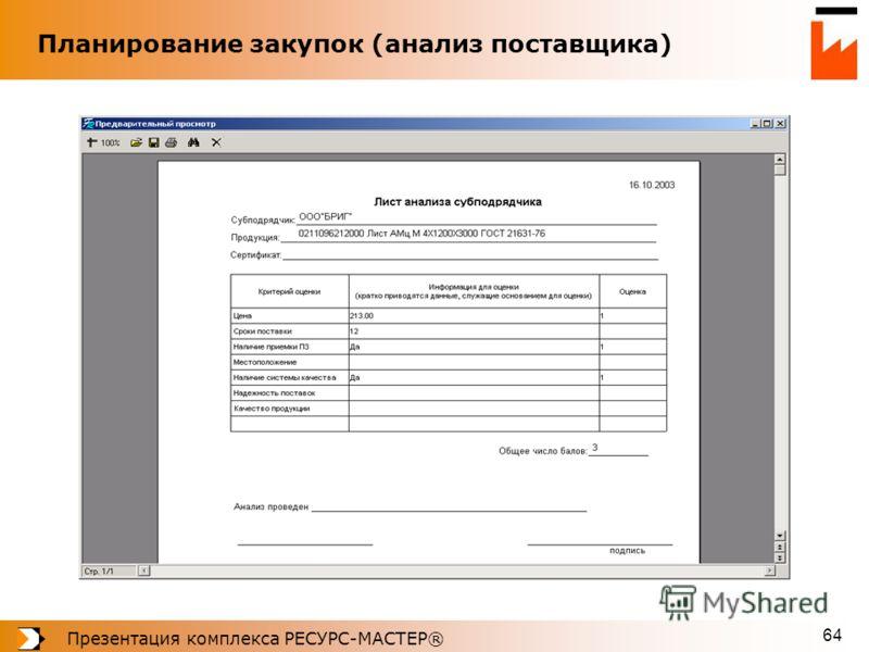 Презентация комплекса РЕСУРС-МАСТЕР® 64 Планирование закупок (анализ поставщика)