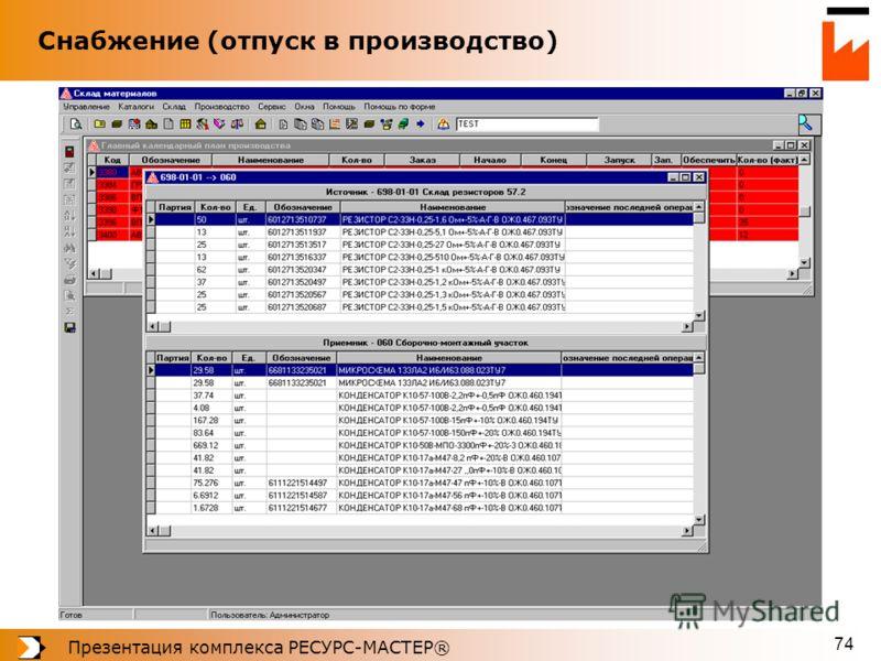 Презентация комплекса РЕСУРС-МАСТЕР® 74 Снабжение (отпуск в производство)