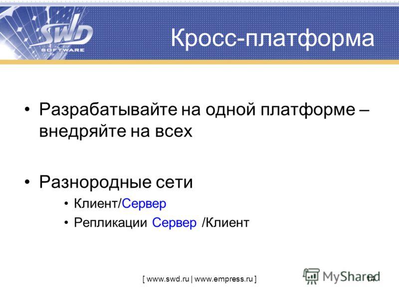 [ www.swd.ru | www.empress.ru ]14 Разрабатывайте на одной платформе – внедряйте на всех Разнородные сети Клиент/Сервер Репликации Сервер /Клиент Кросс-платформа