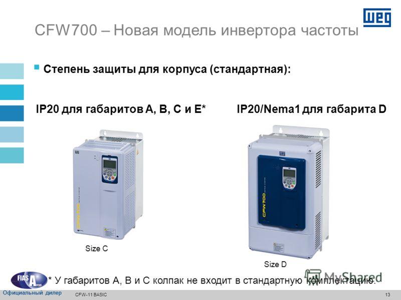 12 Список моделей – 380…480 В переменного тока Модель CFW700 Габарит Электропитание (диапазон напряжений, количество фаз) Номинальный ток на выходе [амперы] Максимальная температура окружающего воздуха без понижения [°C] IP20 с мин пространст вом IP2